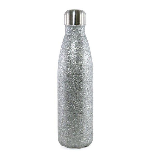 Garrafa inox prata com glitter personalizada
