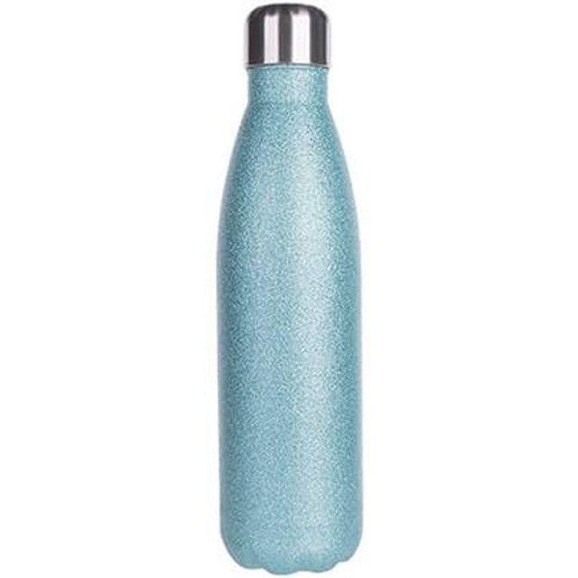 Garrafa inox azul com glitter personalizada