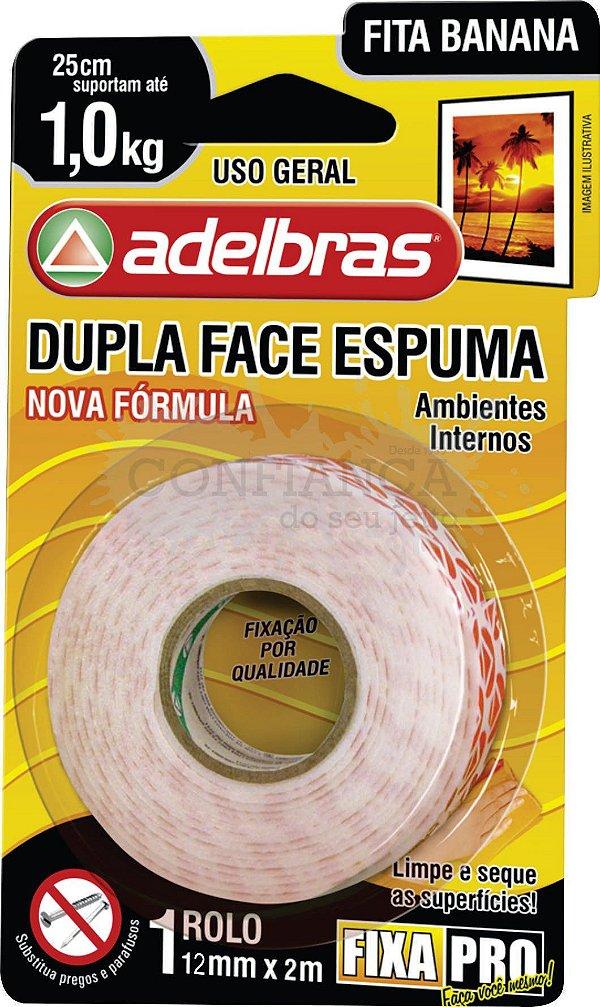 Fita Dupla Face de Espuma (Fita Banana) 12mmX2m - Adelbras