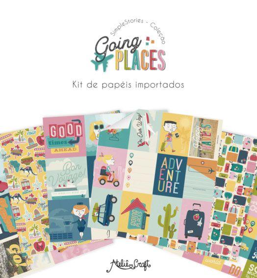 Kit de Papéis - Coleção Going Places (Simple Stories)