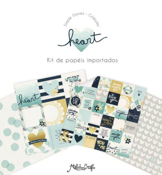 Kit de Papéis Coleção Heart (Simple Stories)