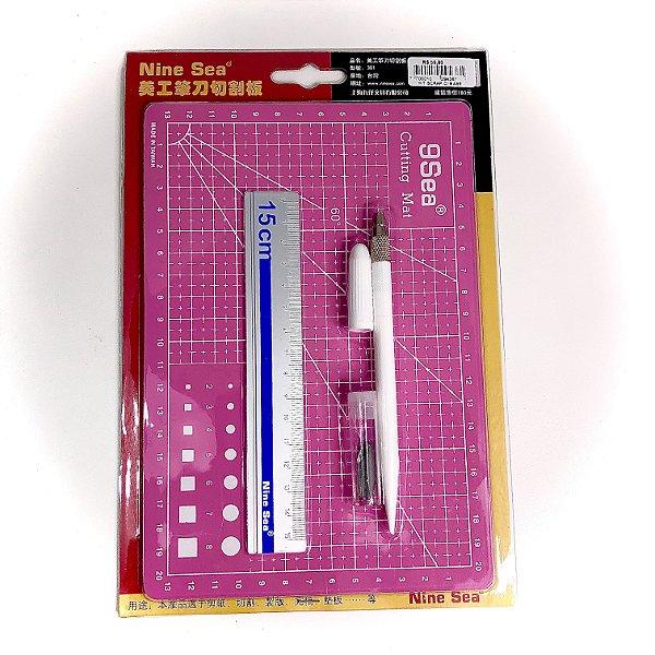 kit Mini Base de Corte + Régua + Estilete de precisão + Refil de Lâmina ROSA