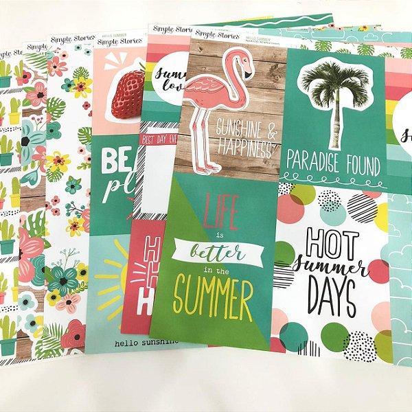 Kit de papéis - Coleção Hello Summer (Simple Stories)