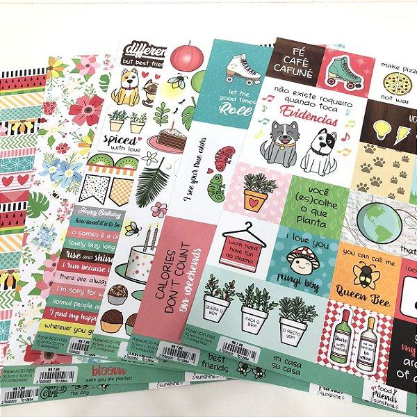 Kit de Papéis - Food, Friends, Sunshine ( ScrapDiary)