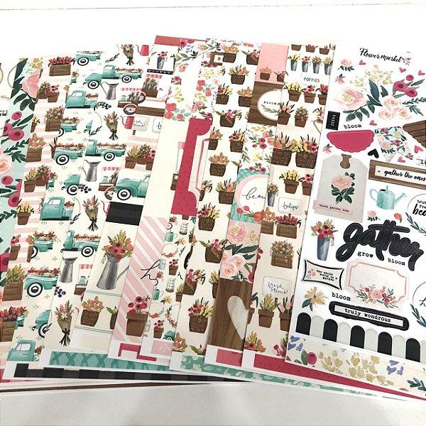 Kit de papéis - Coleção Flower Market (Carta Bella)
