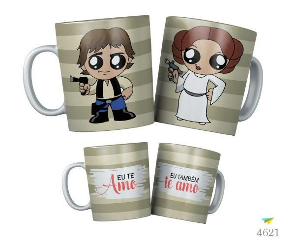 Kit Canecas Princesa Leia e Han Solo