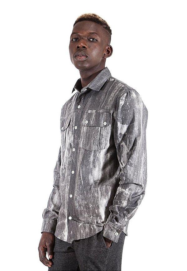 Camisa Jeans Cinza Tie Dye