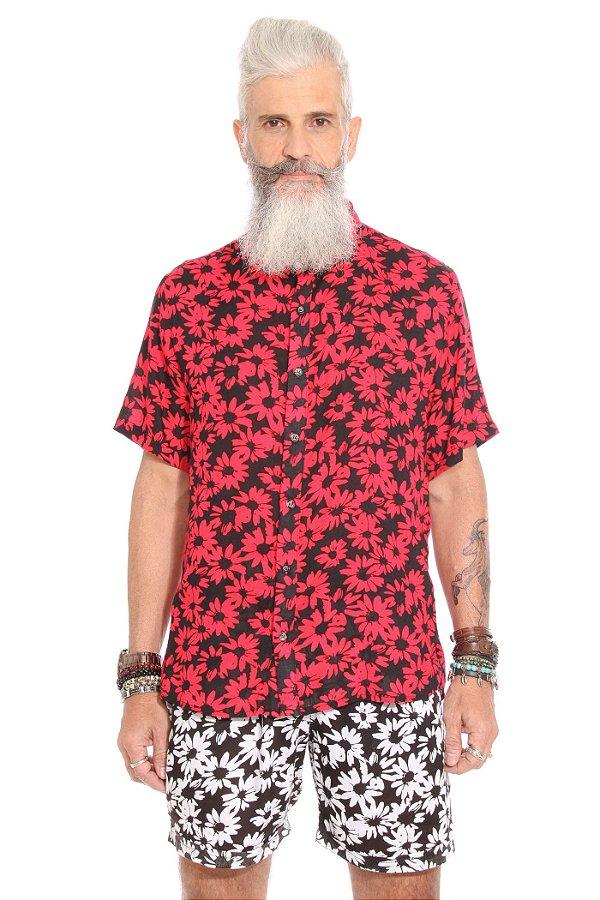 Camisa Flores de Outono Vermelha