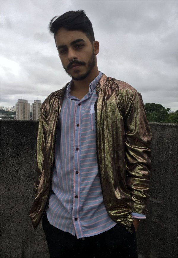 Jaqueta Bomber Metalizada Dourada
