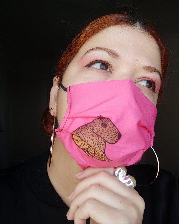 Máscara de tecido capivara pink