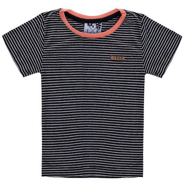 Camiseta Listrada Fio Tinto Djobi Laranja Infantil
