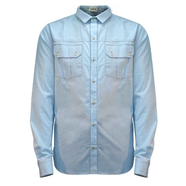 Camisa Tricoline Manga Longa Azul Delavê Cielo