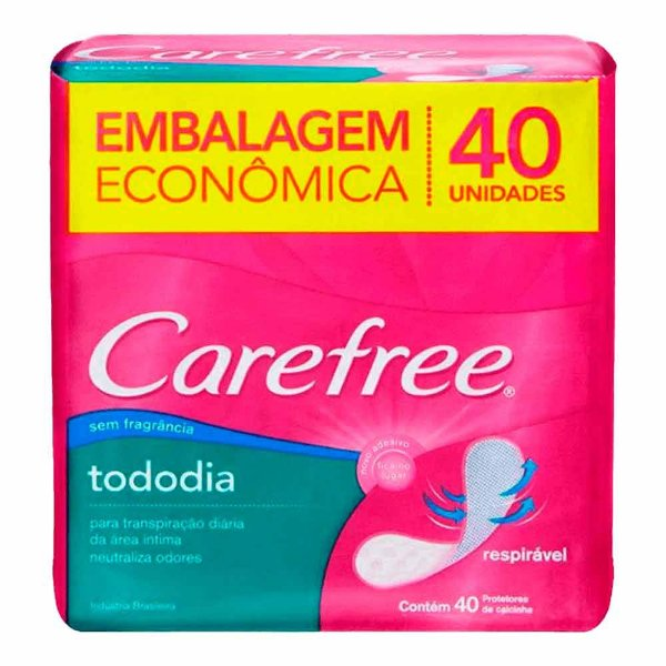 CAREFREE TODODIA ABSORVENTE SEM FRAGÂNCIA 40 UNIDADES