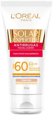 L'OREAL SOLAR EXPERTISE PROTETOR FACIAL ANTIRRUGAS FPS 60 COM COR 50g