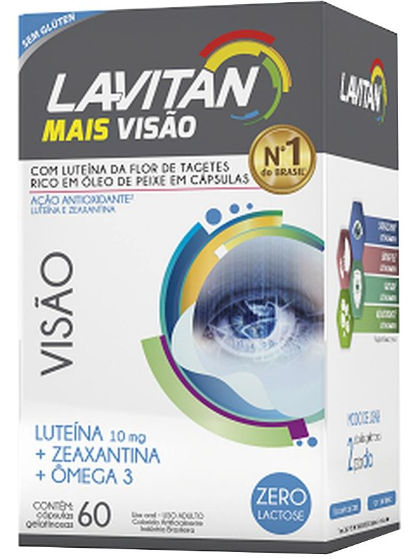 LAVITAN MAIS VISÃO COM LUTEÍNA E ZEAXANTINA OMEGA 3 60 CÁPSULAS