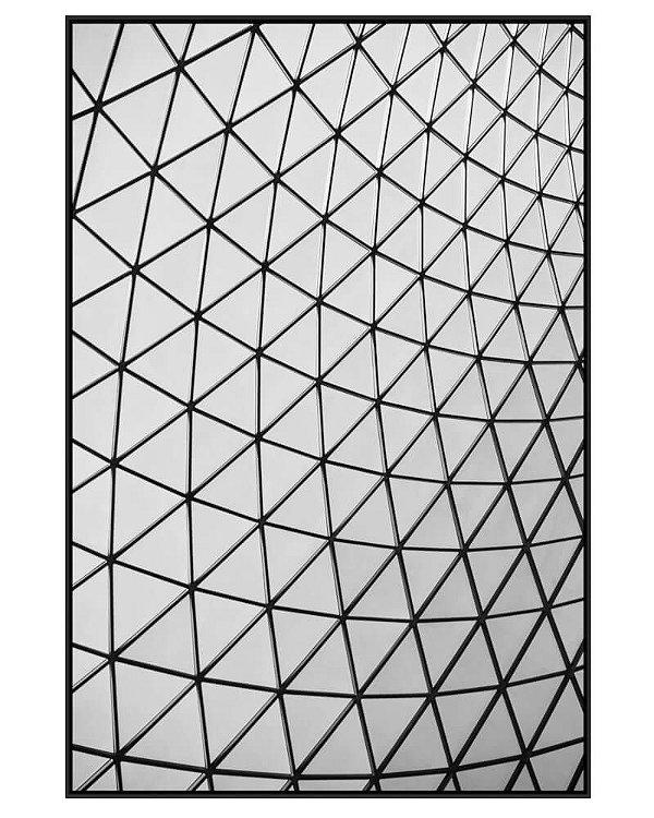 Quadro Canvas Cobertura Geométrica Triangular P&B