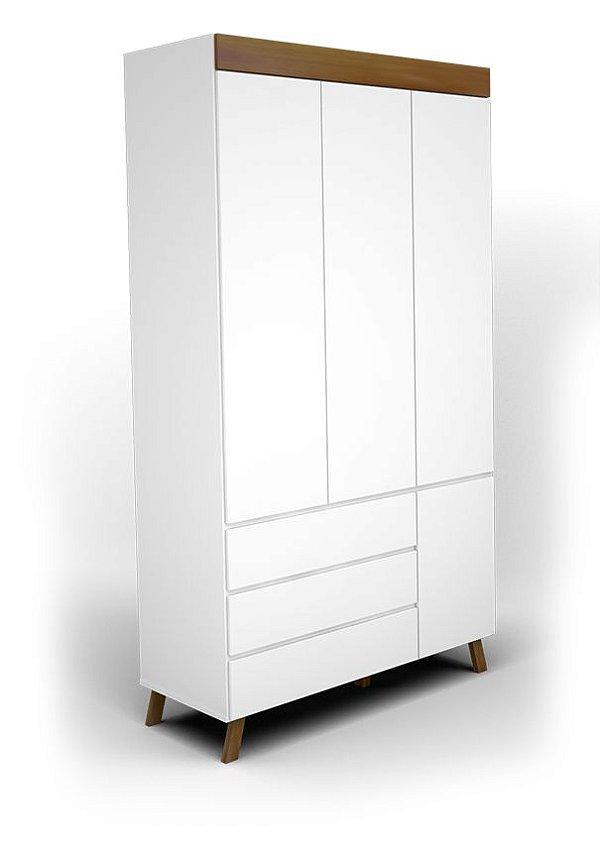 roupeiro isis 03 portas branco fosco com mel - jc móveis
