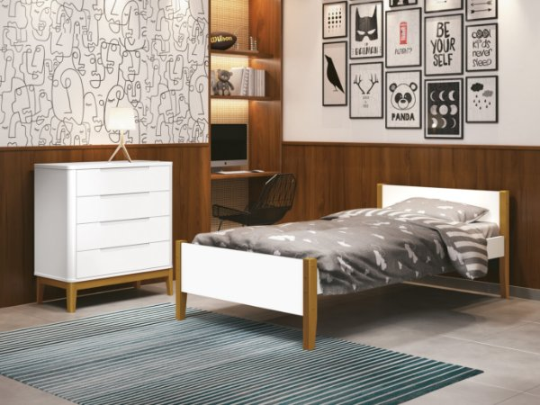 cama de solteiro branco fosco  com pés em madeira- reller