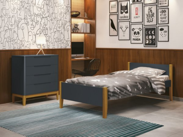 cama de solteiro grafite com pés em madeira - reller