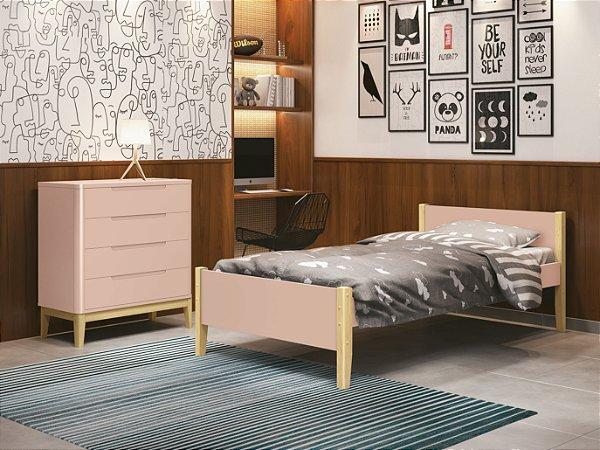 cama de solteiro rosa fosco com pés em madeira natural- reller