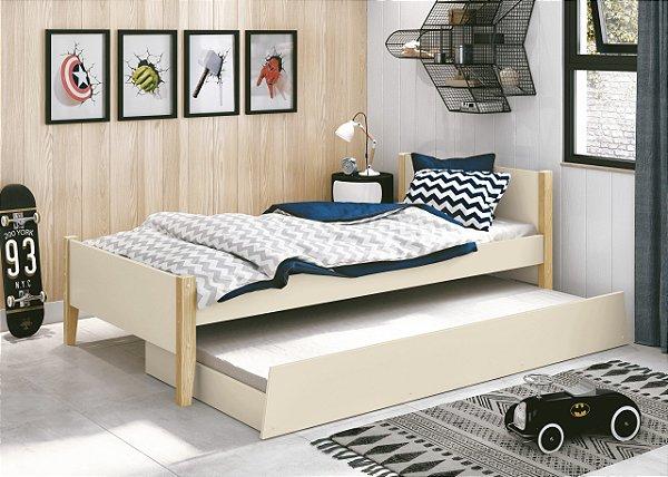 cama de solteiro areia fosco  com pés em madeira natural- reller