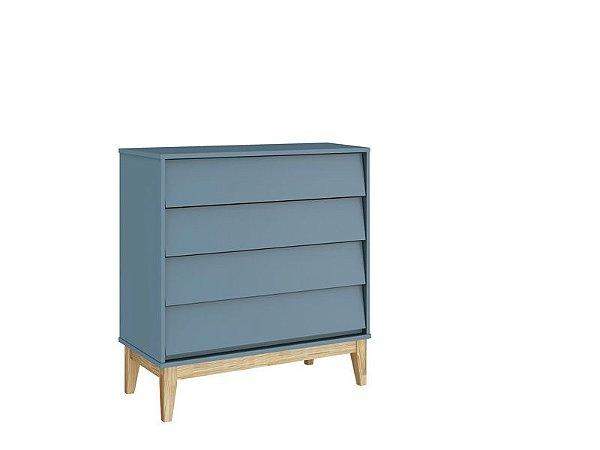 Cômoda Gaveteira Noah Classic Azul com pés em madeira natural - Reller