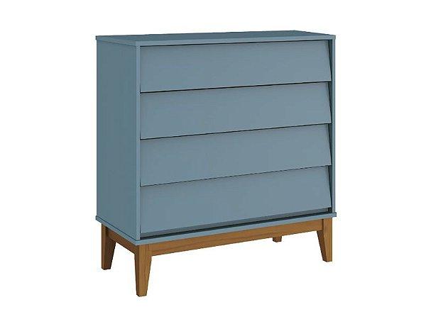 Cômoda Gaveteira Noah Classic Azul com pés em madeira - Reller