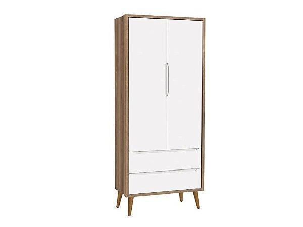 Roupeiro Théo 02 portas Branco Fosco com Mezzo com pés em madeira - Reller