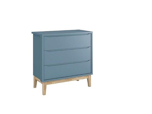 Cômoda Gaveteira Classic Azul com pés em madeira natural - Reller