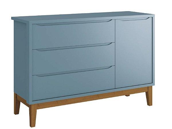 Cômoda Sapateira Classic Azul com pés em madeira - Reller