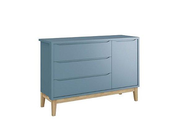 Cômoda Sapateira Classic Azul com pés em madeira natural - Reller