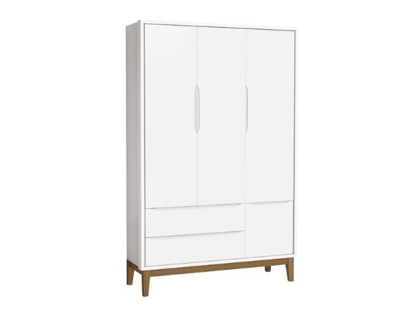 Roupeiro Classic 03 Portas Branco Fosco com pés em madeira - Reller