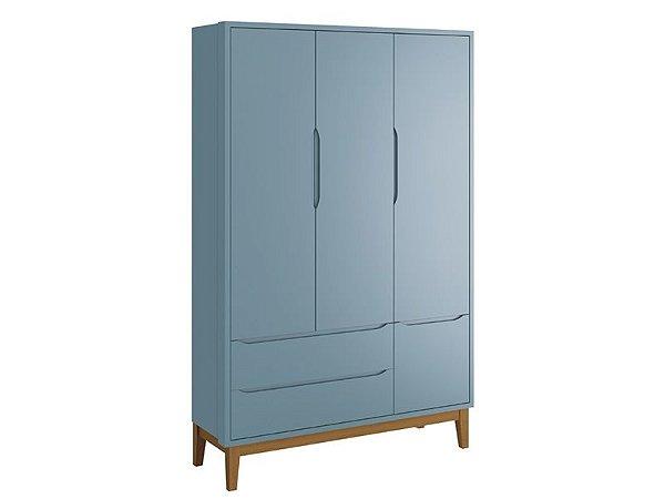 Roupeiro Classic 03 Portas Azul com pés em madeira - Reller