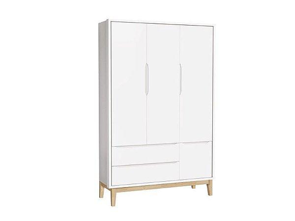 Roupeiro Classic 03 Portas Branco Fosco com pés em madeira natural - Reller