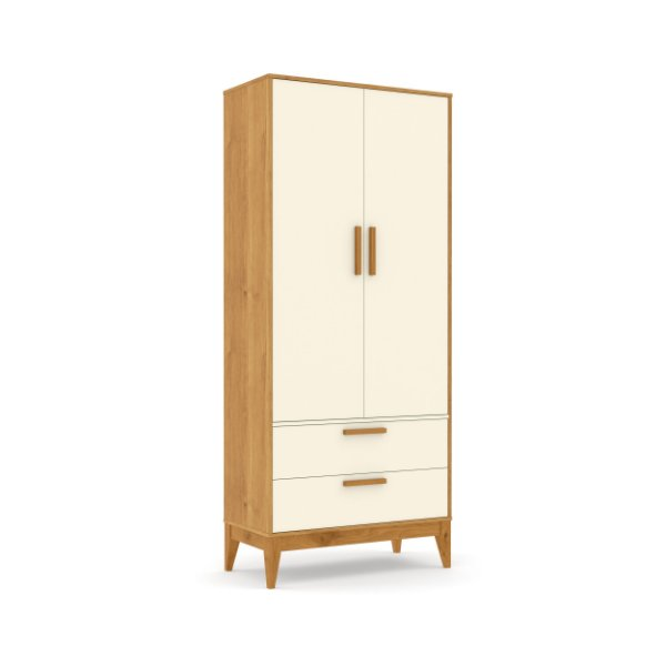 Roupeiro Nature 02 Portas Off White Freijó EcoWood - Matic