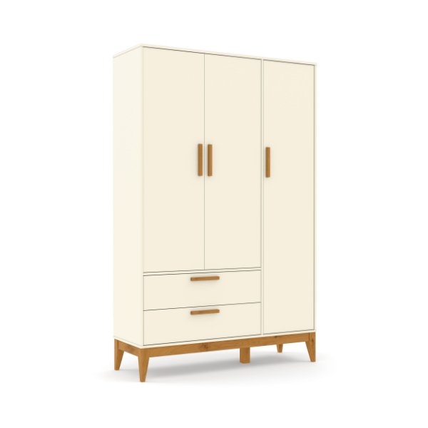 Roupeiro Nature 03 Portas Off White EcoWood - Matic