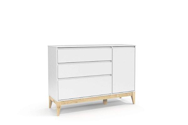 Cômoda Nature Clean com porta Branco Soft Natural - Matic