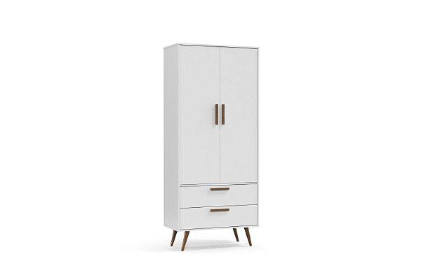 Roupeiro Retrô 02 Portas Branco Soft EcoWood - Matic