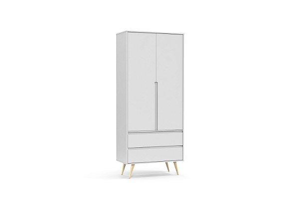Roupeiro Retrô Clean 02 Portas Branco Soft Natural - Matic