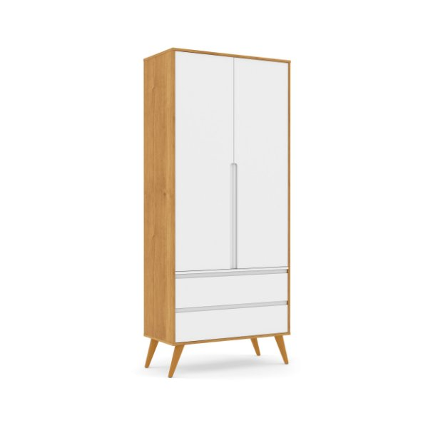 Roupeiro Retrô Clean 02 Portas Branco Soft Freijó EcoWood - Matic