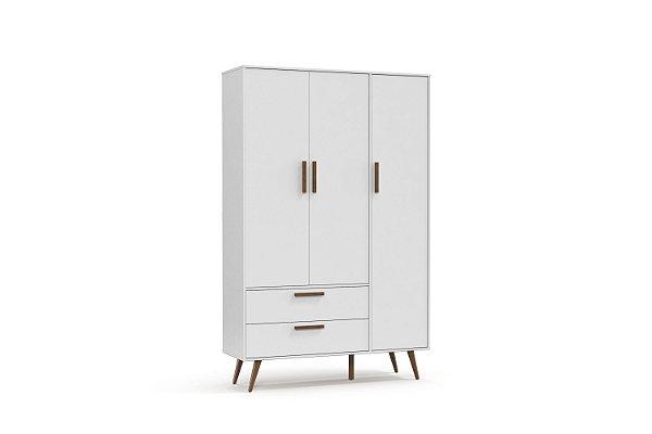 Roupeiro Retrô 03 Portas Branco Soft EcoWood - Matic