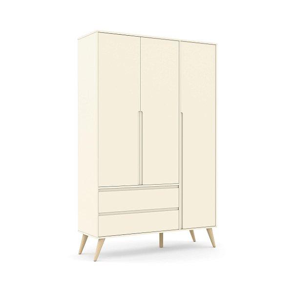 Roupeiro Retrô Clean 03 Portas Off White Natural - Matic