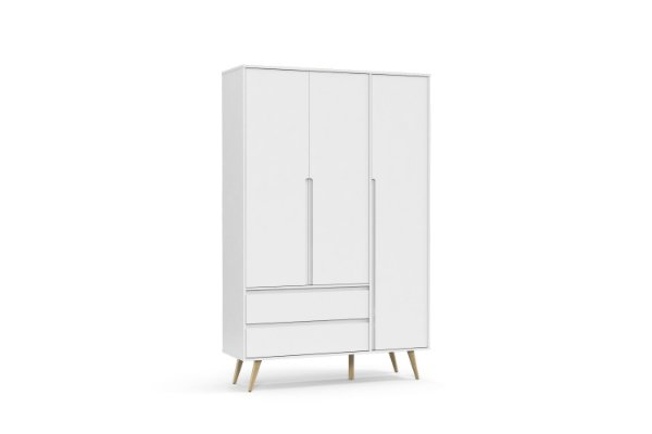Roupeiro Retrô Clean 03 Portas Branco Soft Natural - Matic