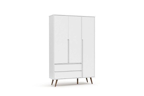 Roupeiro Retrô Clean 03 Portas Branco Soft EcoWood - Matic