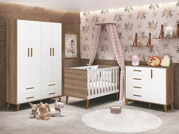 Dormitório Ayla Branco Fosco com Mezzo - Berço+Cômoda+Roupeiro 04 portas - Reller