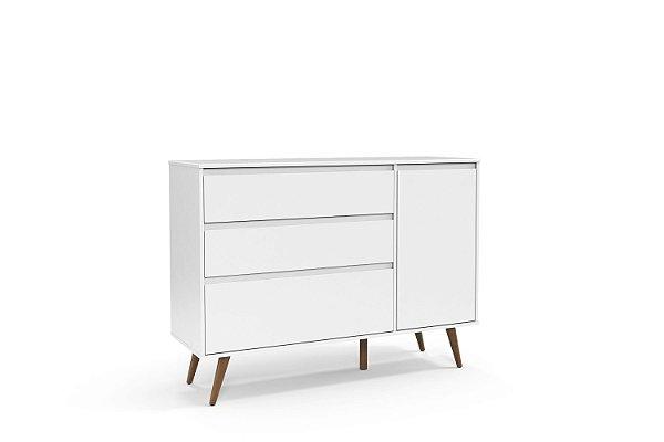 Cômoda Retrô Clean com porta Branco Soft EcoWood - Matic