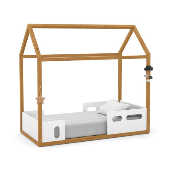 Mini cama Liv Branco Soft Freijó - Matic