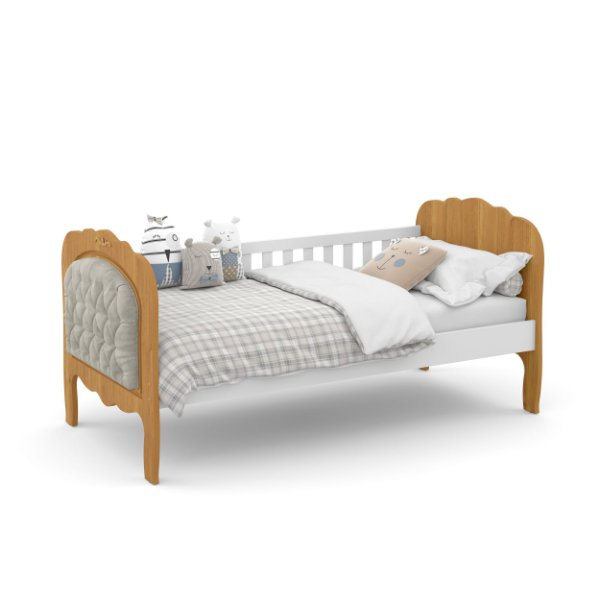 cama baba provence branco soft freijó com capitonê - matic