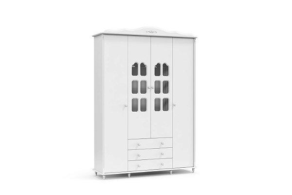 roupeiro provence 04 portas branco soft - matic