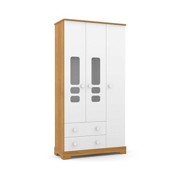 roupeiro smart 03 portas branco soft freijó - matic